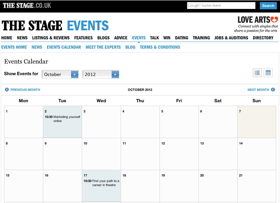 Events website calendar - NO LONGER LIVE