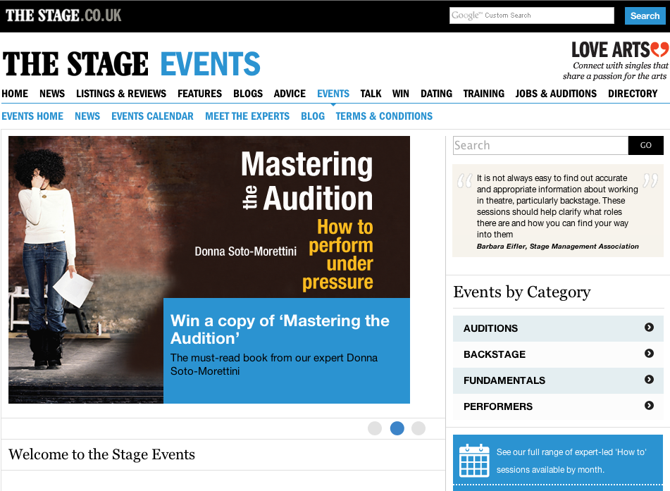The Stage Events website - NO LONGER LIVE